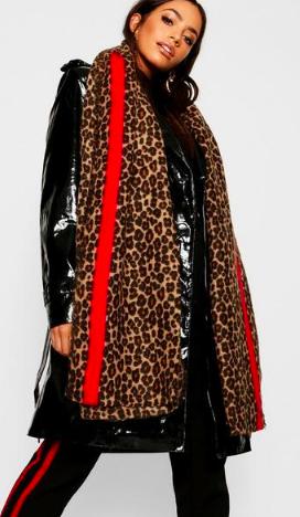 Leopard Red Stripe Oversized Blanket Scarf