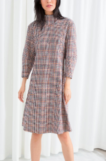 Stories Mock Neck Houndstooth Dress