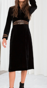 Stories Velvet Embroidered Midi Dress