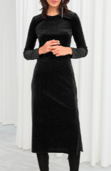 Stories Long Sleeve Velvet Midi Dress