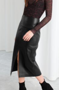 Stories Front Slit Leather Midi Skirt