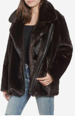 Oversize Faux Mink Fur Moto Jacket KENDALL + KYLIE