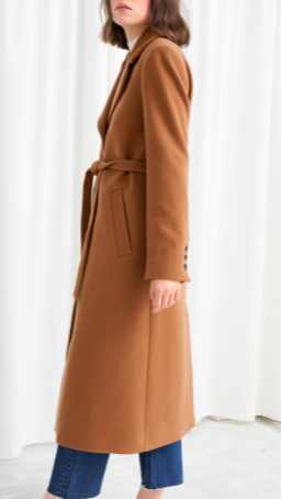 Stories A-Line Wool Blend Belted Coat