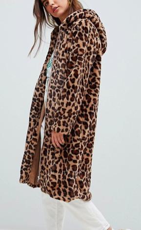 Daisy Street coat in leopard faux fur