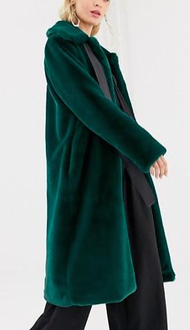 Y.A.S faux fur coat with neck tie