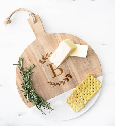 Monogram Acacia & Marble Cutting Board CATHY'S CONCEPTS Price