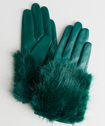 Stories Faux Fur Leather Gloves