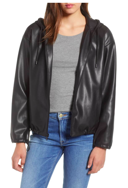 Faux Leather Hoodie SAM EDELMAN