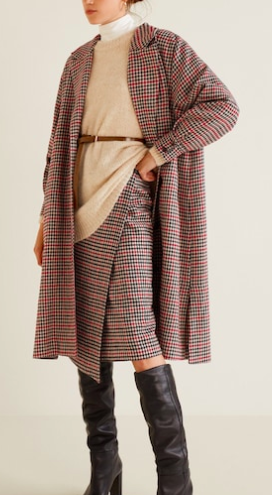 Mango Check wrap skirt