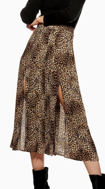 Topshop Leopard Print Box Pleat Midi Skirt