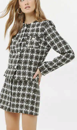 Forever 21 Faux Pearl Accent Tweed Jacket