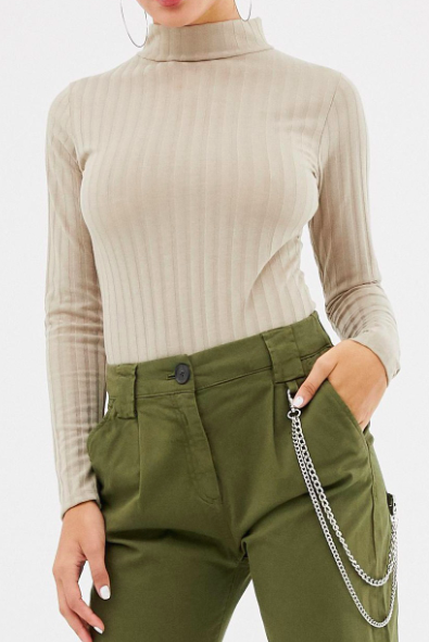 Missguided ribbed roll neck bodysuit in beige