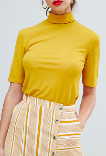 Pieces Ribbed Roll Neck Top
