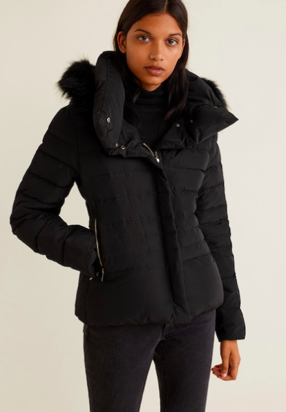 Mango Detachable hood feather down coat