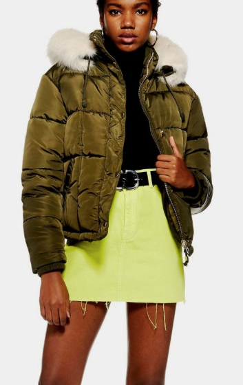 Topshop Faux Fur Lined Puffer Jacket