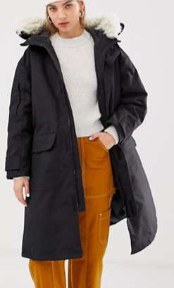 Weekday oversized parka with faux fur hood