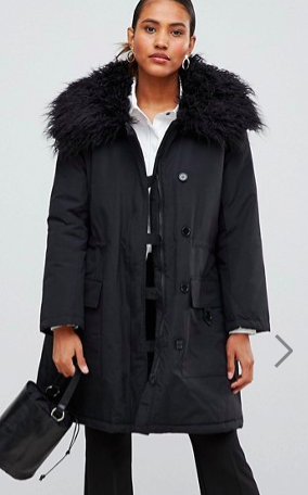French Connection Utility Parka Coat with Fur Neck