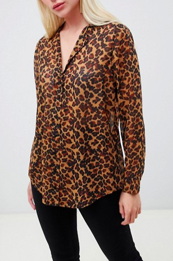 ASOS DESIGN longline sheer blouse in leopard animal print
