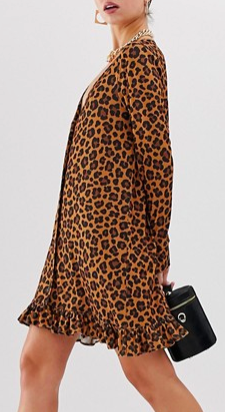 ASOS DESIGN leopard print button through mini dress