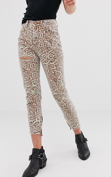 One Teaspoon Freebirds high waisted skinny jean in leopard print