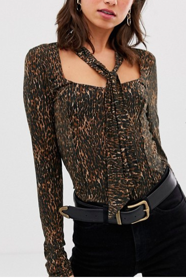 Free People Wild Things leopard print top with neck scarf