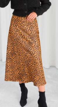 Stories Leopard Print Midi Skirt