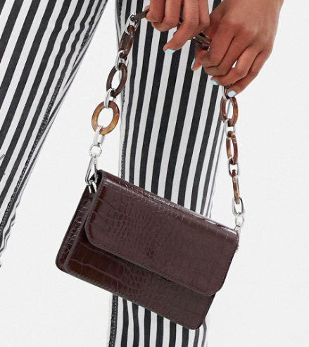 ASOS DESIGN mini croc cross body bag with statement strap