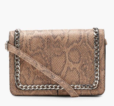 Boohoo Faux Snake And Chain Cross Body