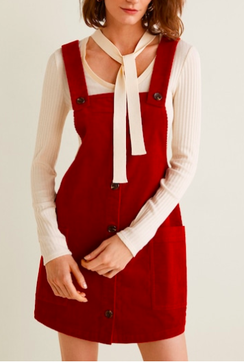 Mango Corduroy pinafore dress