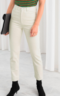 Stories High Waisted Slim Corduroy Pants