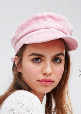 Monki Pink Cord Baker Boy Hat