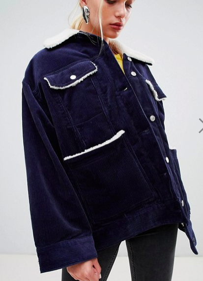 Weekday cord teddy jacket in navy