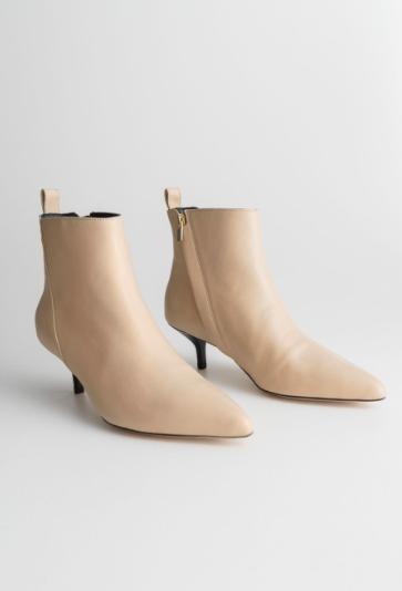 Stories Leather Kitten Heel Boots