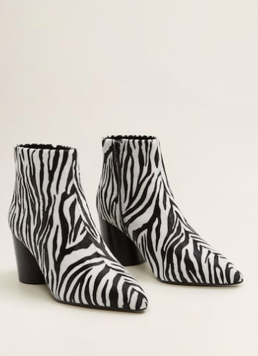 Mango Zebra leather ankle boots