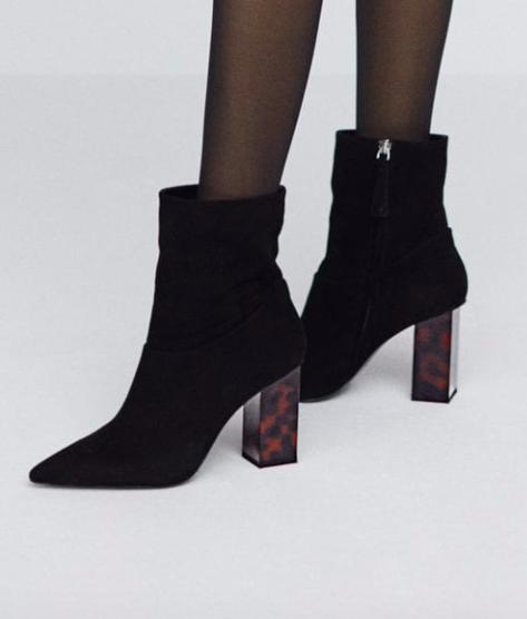 Tortoiseshell heel leather ankle boot