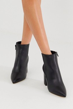 Miss Selfridge pointed heeled boots in black