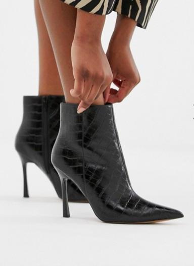ASOS DESIGN Evon leather heeled boots in black croc