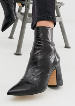 Office Alto black leather mid heeled ankle boots