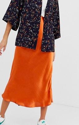ASOS DESIGN bias cut high shine satin slip midi skirt