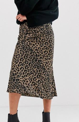 ASOS DESIGN Tall bias cut satin midi skirt in leopard print