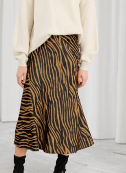 Stories Zebra Print Midi Skirt