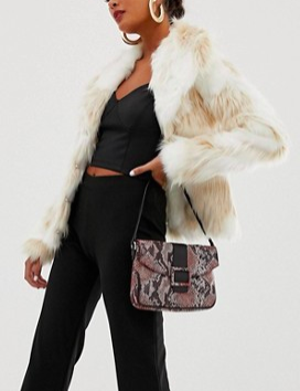 Miss Selfridge faux fur jacket in cream