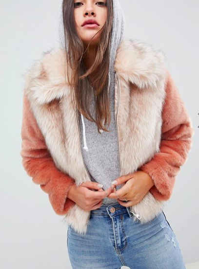 ASOS DESIGN faux fur jacket in contrast