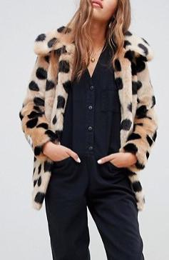 Jakke mid length faux fur coat in spot