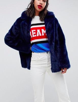 ASOS DESIGN faux fur coat with collar detail