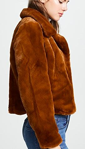 Blank Denim Cropped Faux Fur Jacket