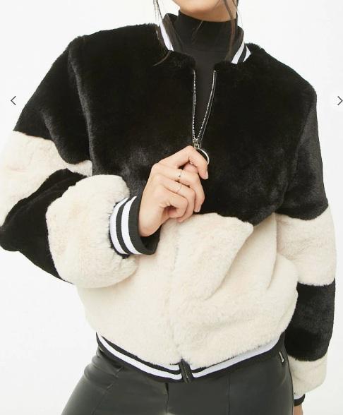 SHACI Faux Fur Bomber Jacket