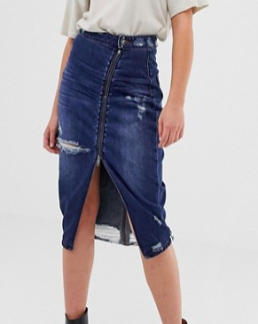 One Teaspoon Midi skirt with zip and rip detail