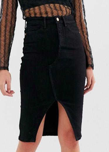 River Island denim midi pencil skirt in black