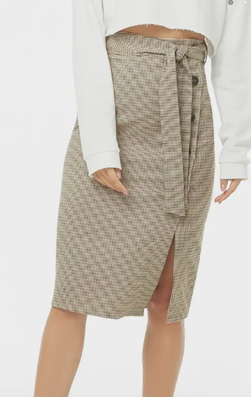Forever 21 Houndstooth Plaid Button-Front Skirt